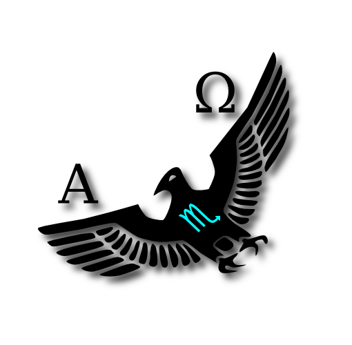 Vraeden.com - Alpha Omega Over a Soaring Eagle with Scorpio Horoscope Sign